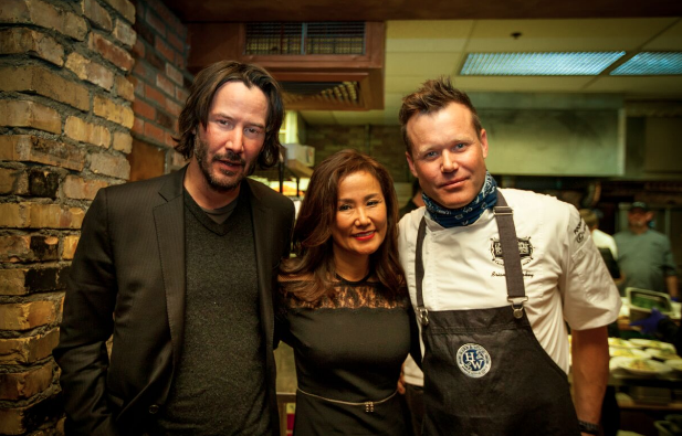 Tiffany Rose (From left to right) Keanu Reeves, Mimi Kim chat in the kitchen with famed chef Brian Malarkey at ChefDance 2017, sponsored byGiftedTaste, Park City, Utah
