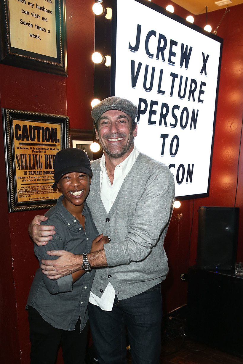 "Joe Scarnici/Getty Images for J.Crew Samira Wiley and Jon Hamm attend the J. Crew, Vulture and New York Magazine hosted official ""Person to Person"" after party at Rock & Reilly's"