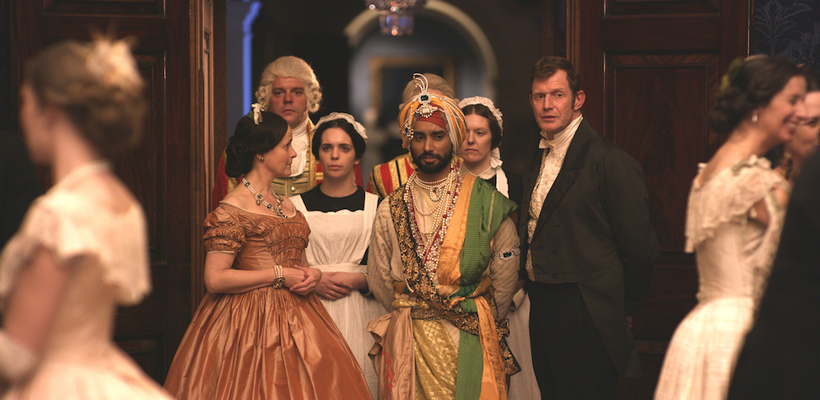 Satinder Sartaaj as The Black Prince, flanked by Amanda Root as Queen Victoria, Jason Flemyng as Doctor John Login, and Duleep Singh's guardian, in England.
