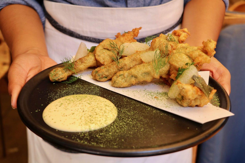 Fried okra furikake lemon Hinoki & the bird