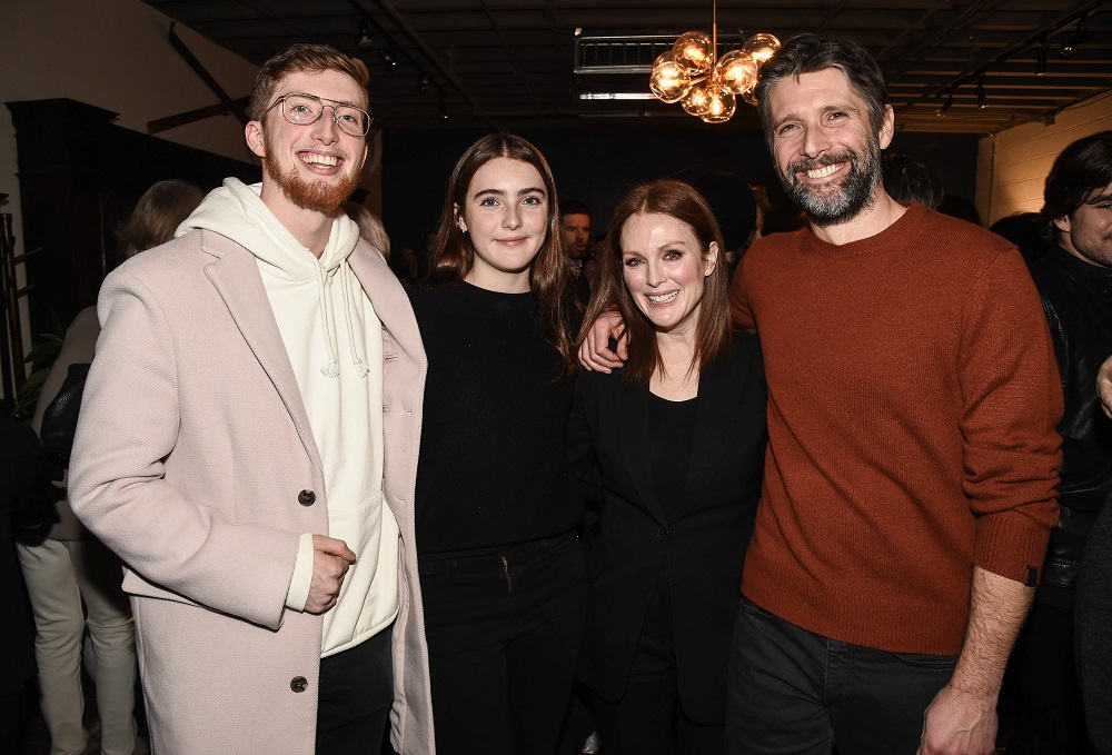 From left to right, Caleb Freundlich, Liv Frenudlich, actress Julianne Moore, and director Bart Freundlich