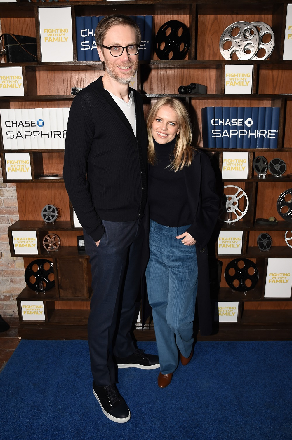 Director and actor Stephen Merchant, left, and Mircea Monroe