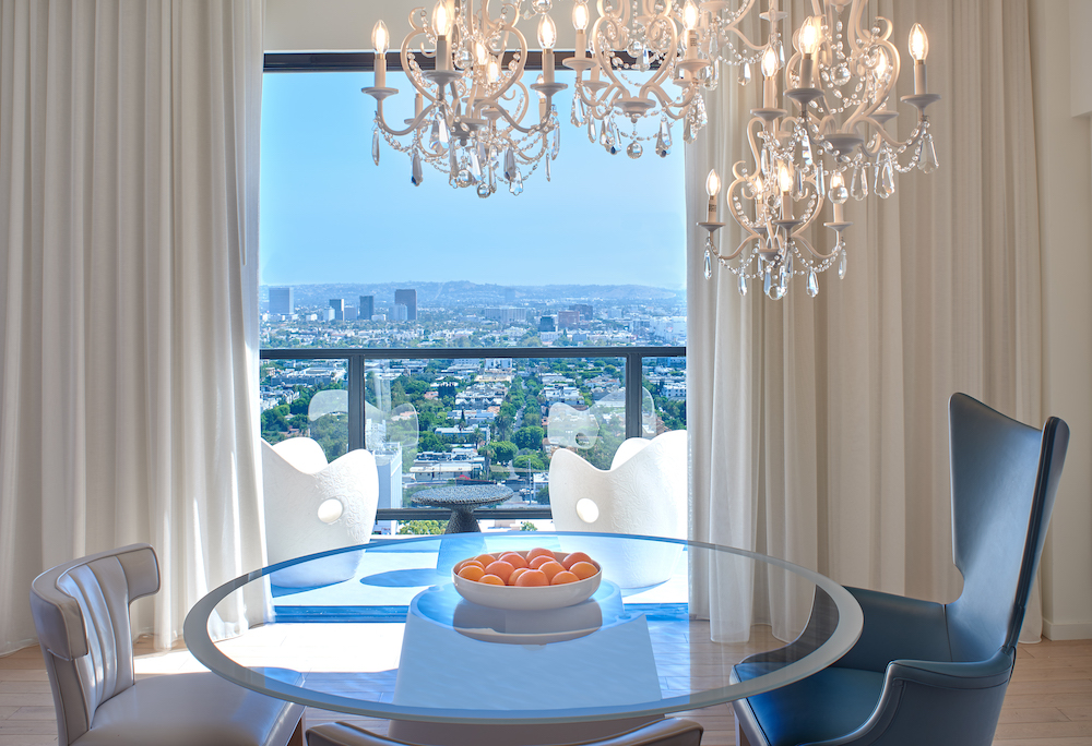 The view out the window of a suite at Mondrian Los Angeles